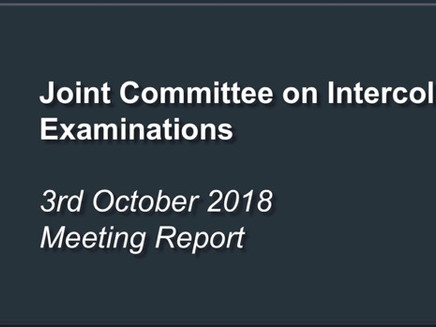 Joint Committee on Intercollegiate Examinations Meeting Report
