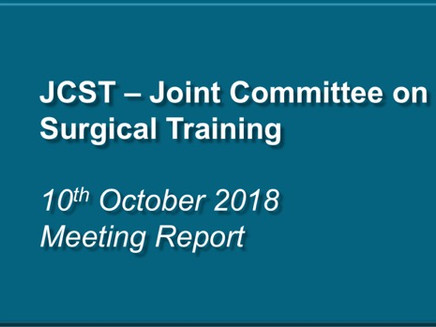 JCST Meeting – 10th October 2018