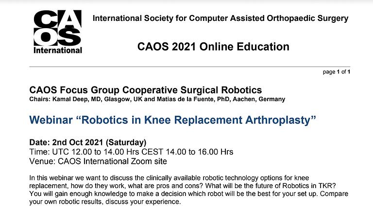 Robotics in Knee Replacement Arthroplasty