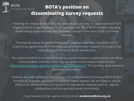 BOTA's position on disseminating survey requests