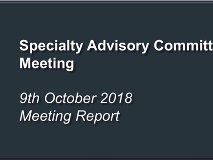 Specialty Advisory Committee Meeting Report