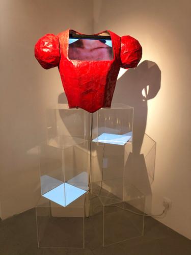 Christy CHOW, Sanitary Pad, Wire, Clay, Paint, Fabric, Acrylic box, 30x15x10 cm, 2012