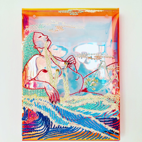 Christy CHOW, Flood, Embroidery in Vinyl , 35.5 x 25.4 cm, 2018
