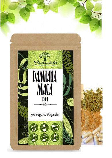 CAUSAVITALIS Damiana + Maca rot Frauen Vitalität 90 Kapseln 500 mg vegan