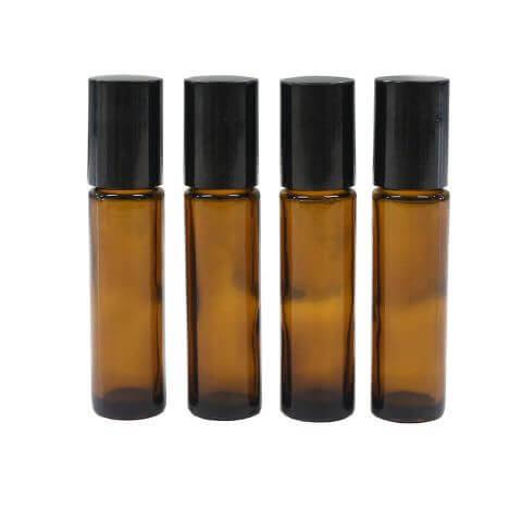 10ml Amber Glass Roll-On Bottles - Pack of 4