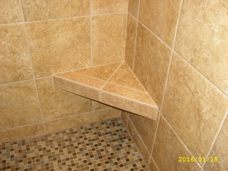 custom tile shower with seat