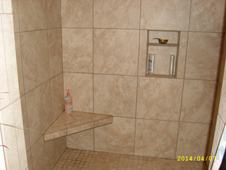 custom tile shower with seat & soap niche