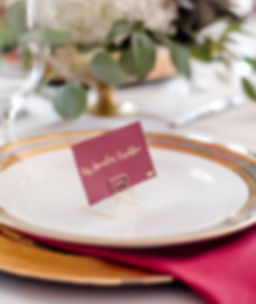 gold calligraphy place cards