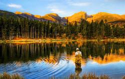 fishing sprague lake with alpen glow
