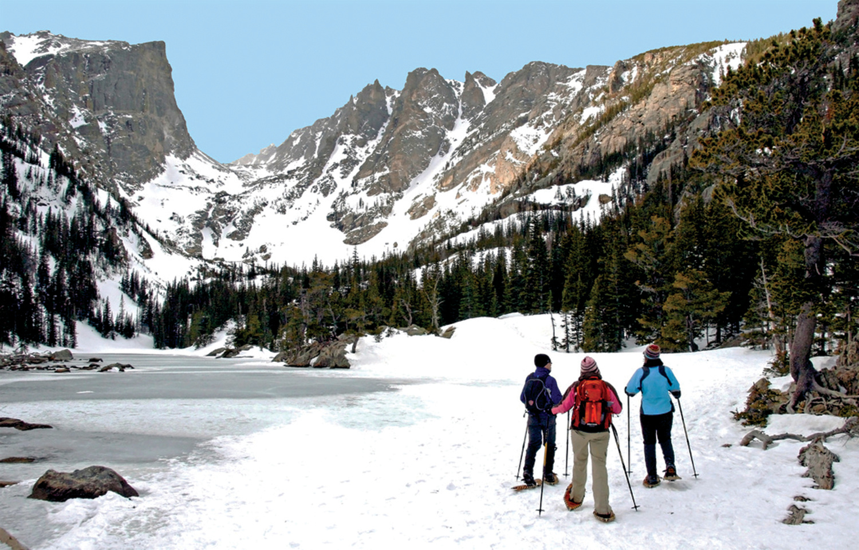 snowshoeing at dream lake