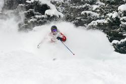 skiing through fresh powder