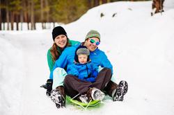 family sledding at hidden valley