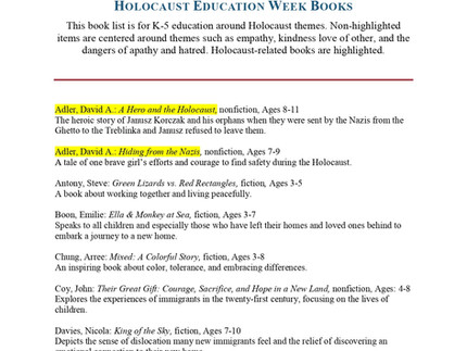 We made the list! Holocaust Education Week Books (page 3)
