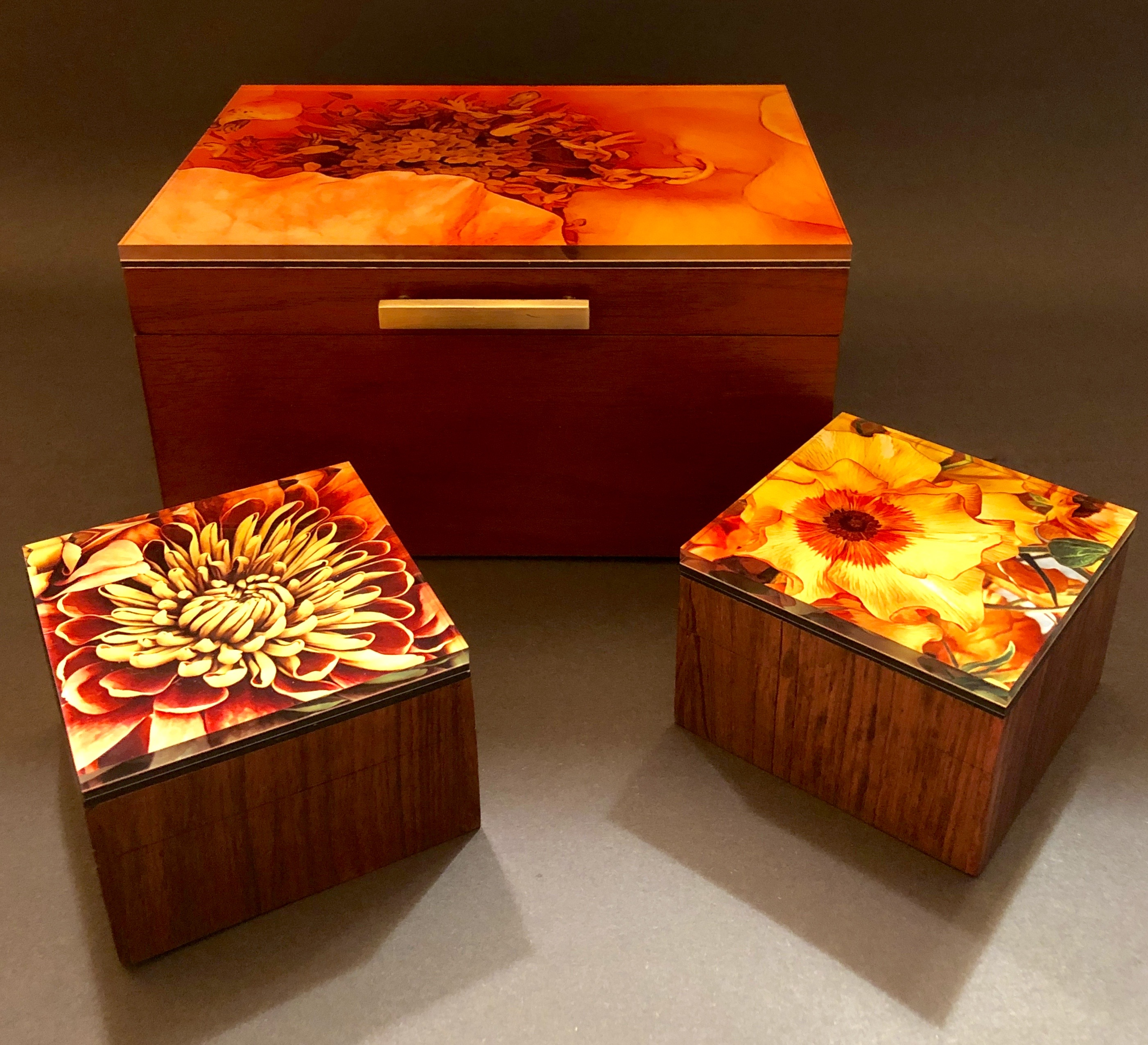 Wood boxes with Acrylic tops.