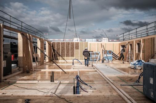 Dachaufstockung, Erweiterung, Holzbau