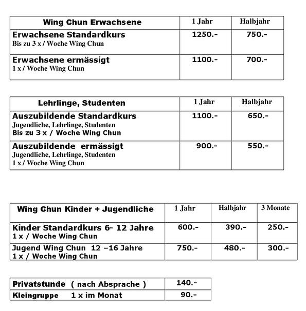 Preisliste 2021 Web Wing Chun Rapperswil