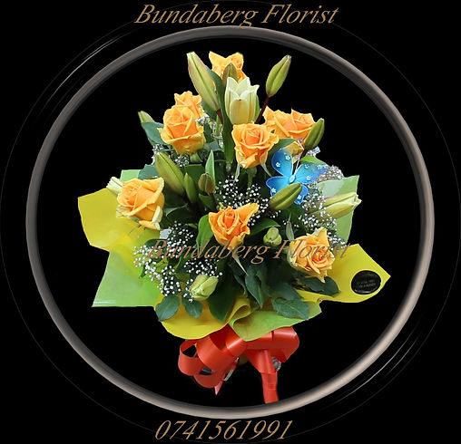 yellow Roses,Babys breath, Asiatic lilies ,