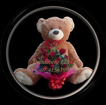 Large Bear, Roses Bouquet,