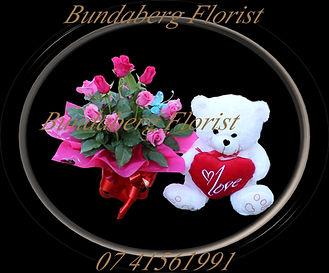 Bundaberg Florist, Romance, Roses & Bear,