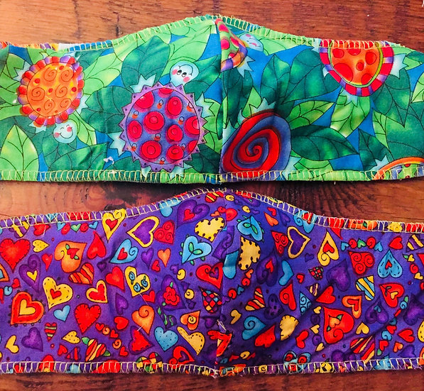 Turtles and hearts. Reversible.