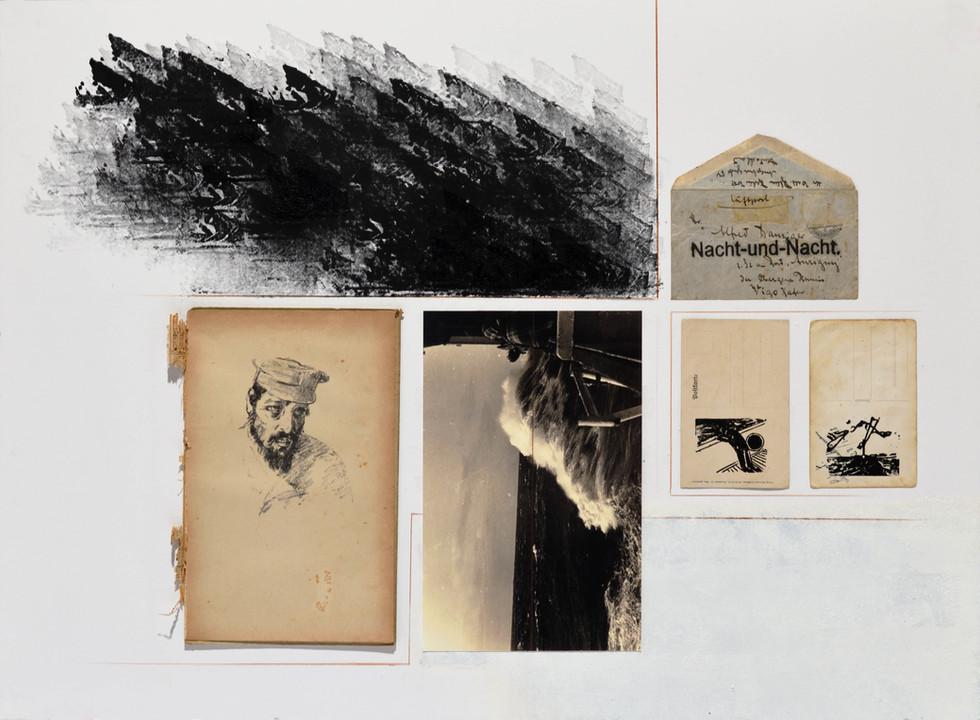 Aurigny [2018] carimbo, impressos diversos e lápis sobre cartão | rubber stamp, assorted printed matter and pencil on cardboard, 80 x 60 cm