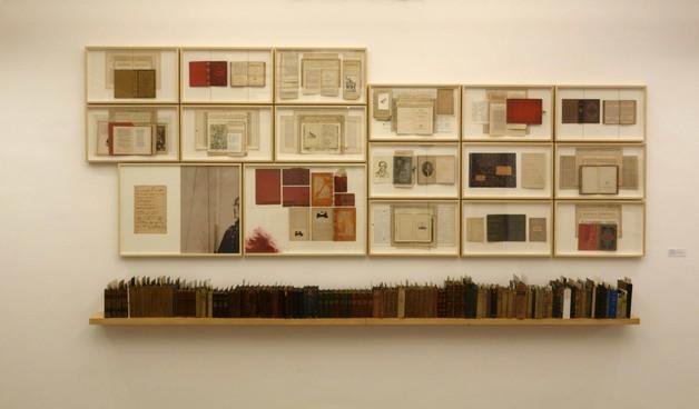 BILDUNG [2014 - 2018] Capas e páginas de livros costuradas sobre cartão, estante de madeira, livros, fotografias e documentos diversos.  360 x 500 x 18 cm
