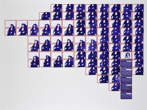 minha mãe e eu [série pesquisa escolar] [2020 - 2021], carimbo sobre etiqueta e cartão, 76 x 102 cm