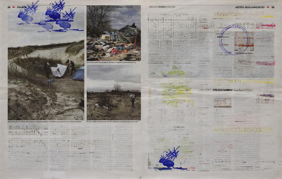 2015 [2018] carimbo sobre jornal apagado | rubber stamp on erased newspaper, 56 x 36 cm