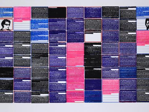 clarice e carolina [série pesquisa escolar] [2020 - 2021], carimbo sobre etiqueta e cartão, 51 x 72 cm