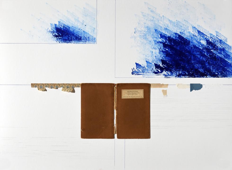 CONVERSA DE SÁBIOS (AO SUL DO FUTURO), capa de livro, lápis e carimbro sobre cartão, 80 x 60 cm