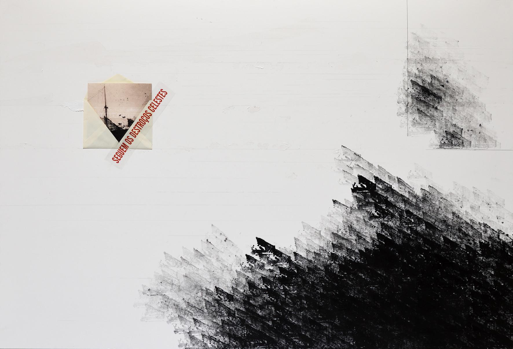 Almanzora [2018] carimbo, envelope, fotografia, fita adesiva sobre cartão  rubber stamp, envelope, photograph, scotch tape on cardboard, 120 x 80 cm