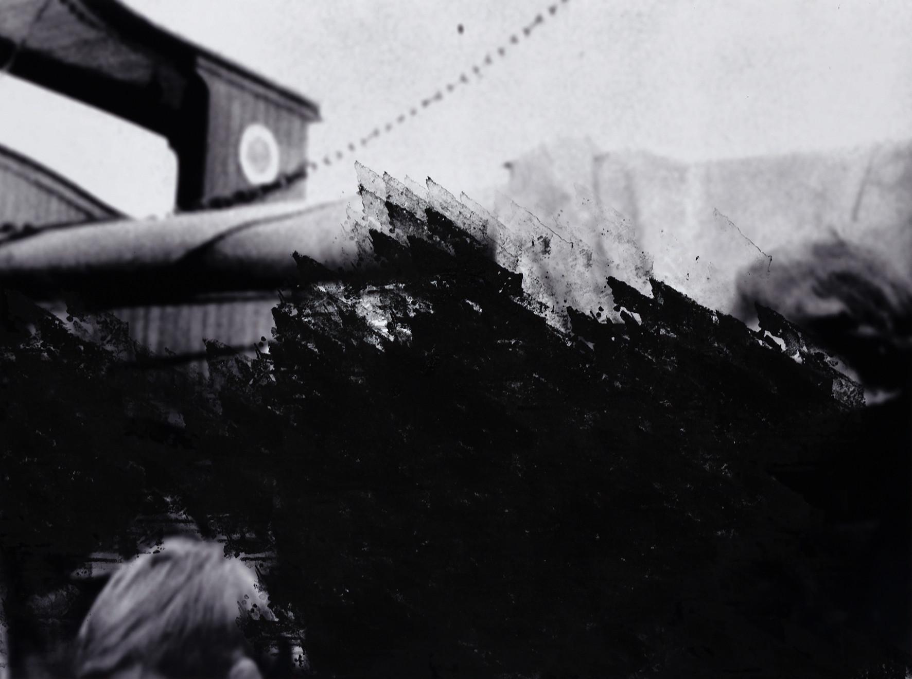 seguem os destroços celestes   the sky-wrecls drive [2018], carimbo sobre impressão jato de tinta, série de 4 imagens (45 x 60 cm cada)   rubber stamp on print on cotton paper, set of 4 images (45 x 60 each)