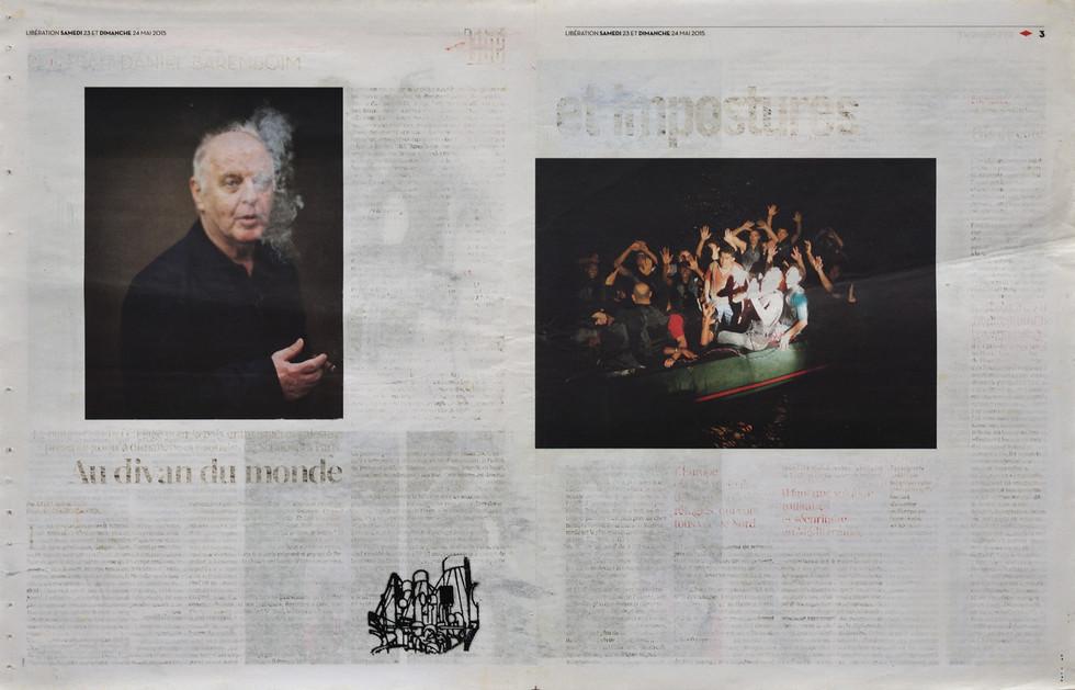 2015 [2018] carimbo sobre jornal apagado   rubber stamp on erased newspaper, 56 x 36 cm