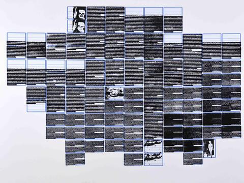 17 de setembro de 1971 [série pesquisa escolar] [2020 - 2021], carimbo sobre etiqueta e cartão, 76 x 102 cm