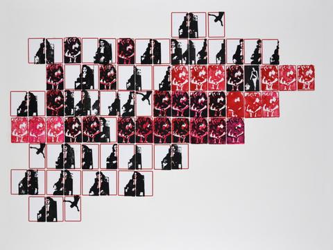 normalistas e chacretes [série pesquisa escolar] [2020 - 2021], carimbo sobre etiqueta e cartão, 76 x 102 cm