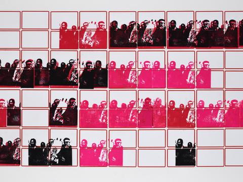M. Luther King e Abraham J. Heschel [série pesquisa escolar] [2020 - 2021], carimbo sobre etiqueta e cartão, 51 x 76 cm cm