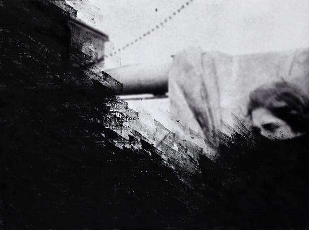 seguem os destroços celestes   the sky-wrecks drive [2018], carimbo sobre impressão jato de tinta, série de 4 imagens (45 x 60 cm cada)   rubber stamp on print on cotton paper, set of 4 images (45 x 60 each)