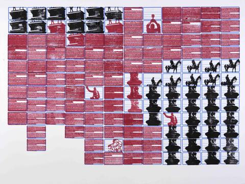 monumentos [série pesquisa escolar] [2020 - 2021] carimbo sobre etiqueta e cartão, 76 x 102 cm