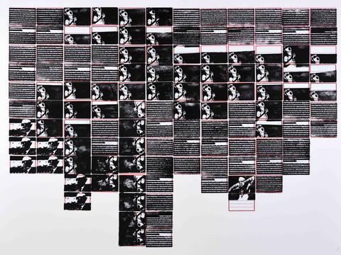 o grito, série pesquisa escolar [2020 - 2021] [carimbo sobre etiqueta e cartão] 76 x 102 cm