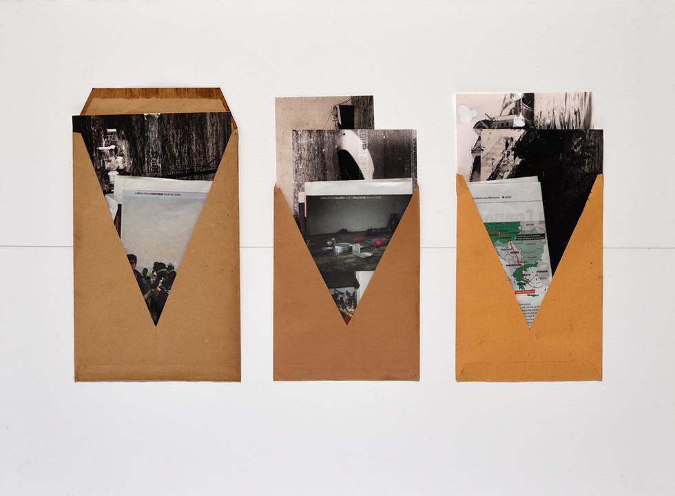 Todos os navios | All the Ships [2018] Envelopes e impressos diversos sobre cartão | envelopes and assorted printed matter on cardboard, 60 x 80 cm