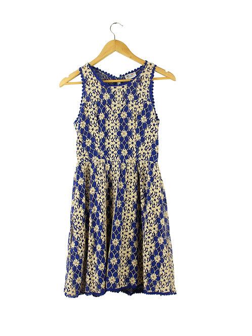 S שמלת קרושה כחול שמנת