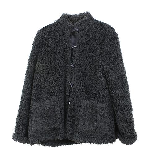 L   DORIN FRANKFURT מעיל שאגי שחור