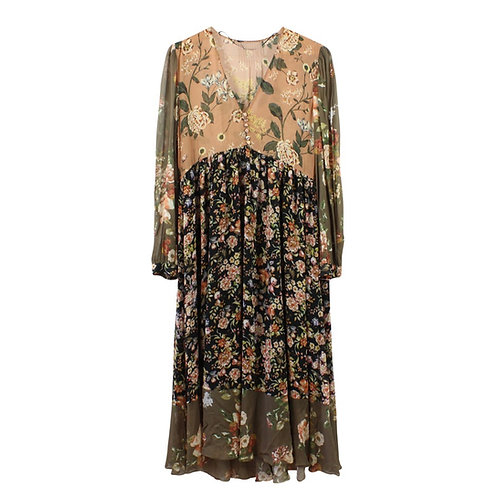 M | ZARA שמלת שיפון פרחונית