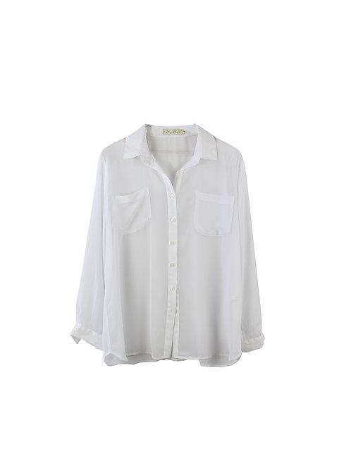 L | Alef Alef חולצת שיפון שקופה