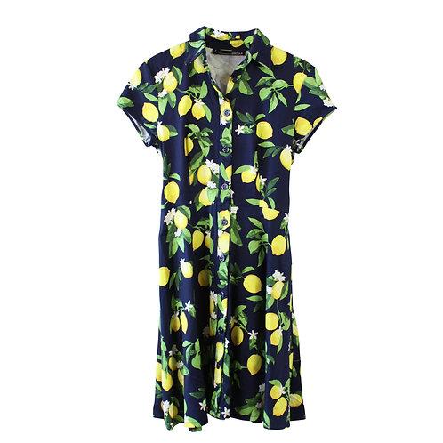 S |  CHETTA B  שמלת לימונים מכופתרת