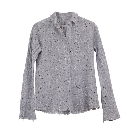 S   MADE Grey Lace Blouse