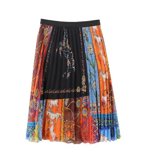 S | DESIGUAL חצאית פליסה