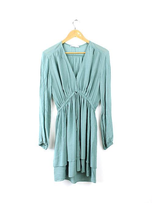 S שמלה ירוקה סגנון בוהמי