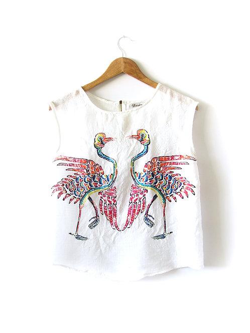 S-M חולצה לבנה דפוס ציפורים