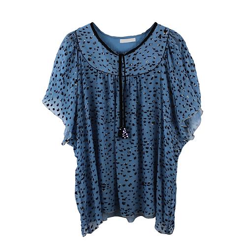 L | TSUMORI CHISATO חולצת משי וקטיפה